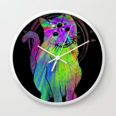 Psychic Psychedelic  Cat Wall Clock