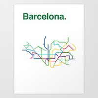 Barcelona Transit Map Art Print