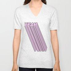 YEAH Typography Pink Blue Unisex V-Neck