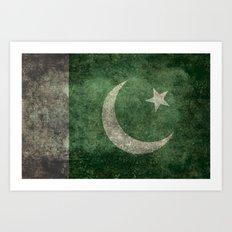 The National Flag of Pakistan - Vintage Version Art Print