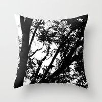 Pecan Tree Silhouette Throw Pillow