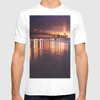 Huntington Beach Sunset Mens Fitted Tee White SMALL