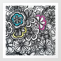 Doodle Birds and Flowers Art Print