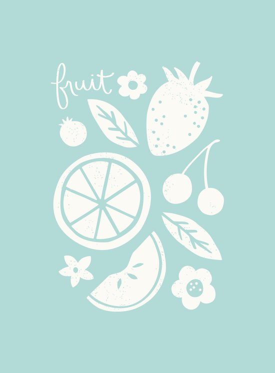 Fruit & Flowers - in Aqua Art Print