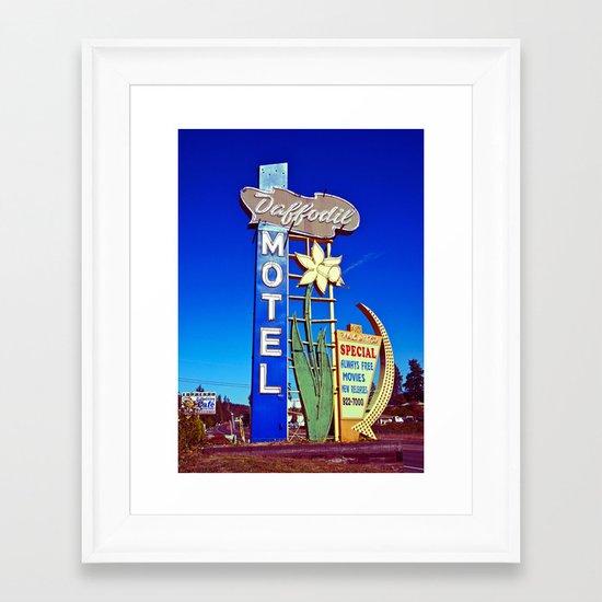 Daffodil Motel sign Framed Art Print