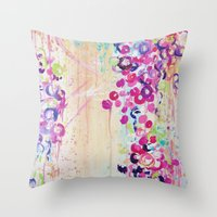 DANCE OF THE SAKURA - Lovely Floral Abstract Japanese Cherry Blossoms Painting, Feminine Peach Blue  Throw Pillow