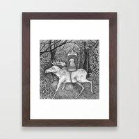 Fox riding moose Framed Art Print