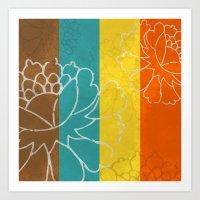 Chinese Flowers & Stripes - Orange Yellow Turquoise Brown Art Print