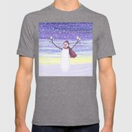 Snowman With Tufted Titm… Mens Fitted Tee Tri-Grey SMALL