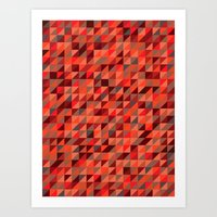 Quilted Reds / Retro Tri… Art Print