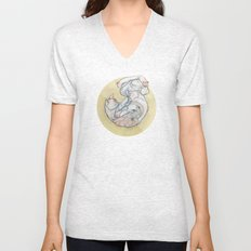 The lady and the cat. Unisex V-Neck