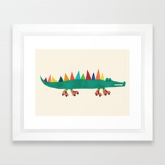 Crocodile On Roller Skat… Framed Art Print