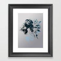 Snow Leopard (Blue) Framed Art Print