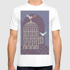 Leaving the Birdcage Mens Fitted Tee SMALL White