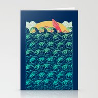 Stationery Cards featuring Squid On The Waves by Julia Minamata