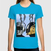 Daft Punk Deux Womens Fitted Tee Teal SMALL