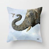 Elephant Cyril And Hummi… Throw Pillow