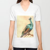 V-neck T-shirt featuring Peacock by Goosi