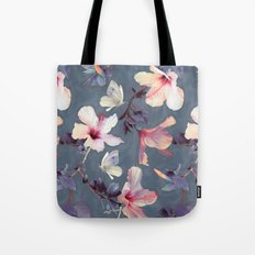 Butterflies and Hibiscus Flowers - a painted pattern Tote Bag