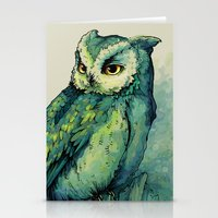 harry potter Stationery Cards featuring Green Owl by Teagan White