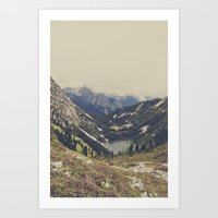 teal Art Prints featuring Mountain Flowers by Kurt Rahn