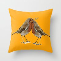 Cute Birds Throw Pillow