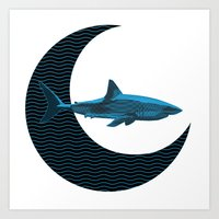 Shark Side Of The Moon Art Print