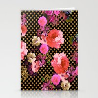 Elegant Pink Vintage Flowers Black Gold Polka Dots Stationery Cards