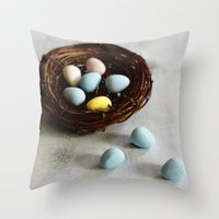Robin's Eggs and Nest Throw Pillow