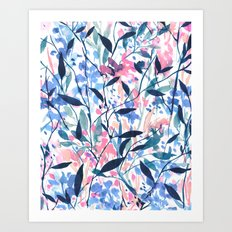 Wandering Wildflowers Blue Art Print