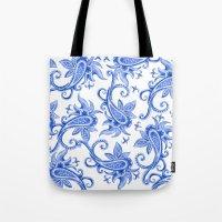 Paisley: Blue China Comb… Tote Bag