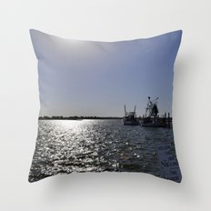 reflections at the pier Throw Pillow
