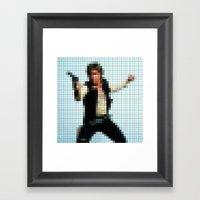 Han With Gun Pixels Framed Art Print