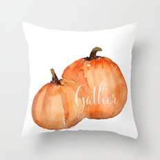 Orange pumpkins watercolor Throw Pillow