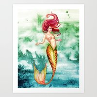 Amber Mermaid Art Print
