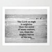 Psalm 93:4 Waves Sea Art Print