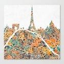 PARIS SKYLINE + MAP #2 Canvas Print