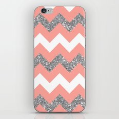 coral glitter chevron iPhone & iPod Skin