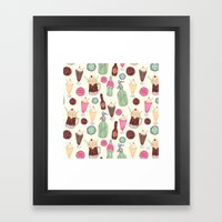 Soda Jerk Pattern Framed Art Print