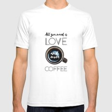 Love & Coffee SMALL White Mens Fitted Tee
