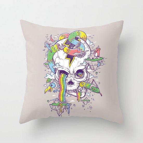 Flying Rainbow skull Island Throw Pillow