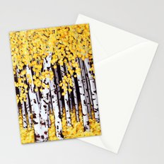 Yellow Birch Forest Painting Stationery Cards
