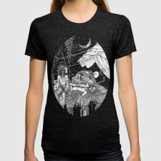 Fleeing Skeleton Womens Fitted Tee Tri-Black SMALL