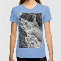 Black and White Beautiful Waterfall Womens Fitted Tee Tri-Blue SMALL