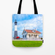 Tybee Island Lighthouse On A Beautiful Morning Tote Bag