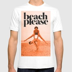 Beach Please!!! Mens Fitted Tee White SMALL