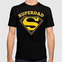 Superdad   Superhero Dad Gift Mens Fitted Tee Black SMALL