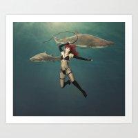 Shark Wrangler Art Print
