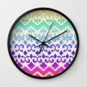 Ikat Rainbow Harmony on Cream Wall Clock