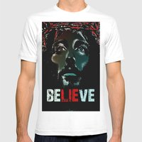 Believe Poster Mens Fitted Tee White SMALL